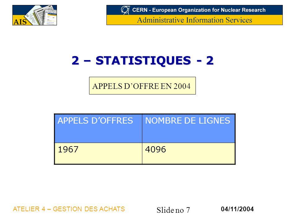 2 – STATISTIQUES - 2 APPELS D'OFFRE EN 2004 APPELS D'OFFRES