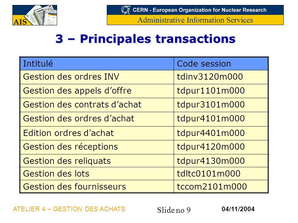 3 – Principales transactions