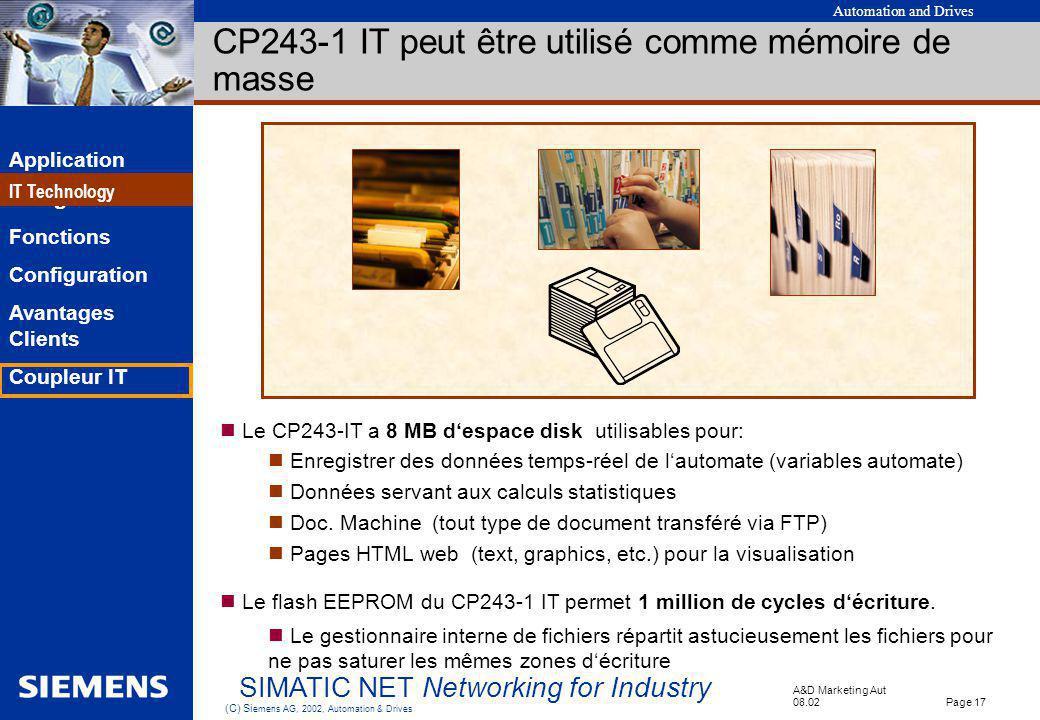 CP243-1 IT peut être utilisé comme mémoire de masse