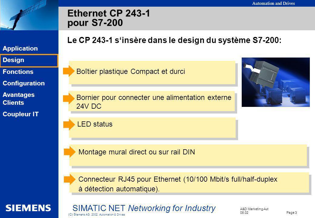Ethernet CP 243-1 pour S7-200 Le CP 243-1 s'insère dans le design du système S7-200: Boîtier plastique Compact et durci.