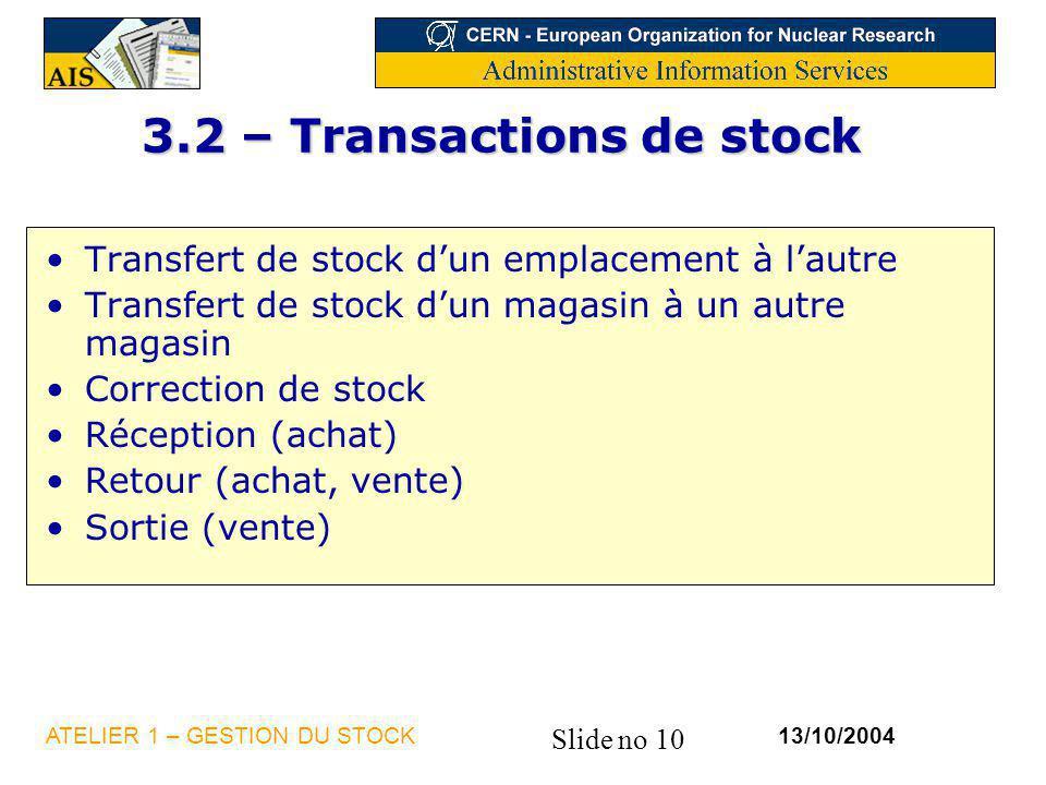 3.2 – Transactions de stock