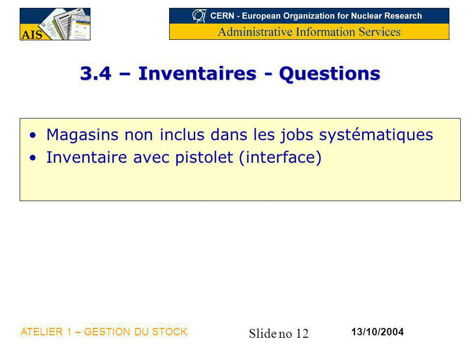3.4 – Inventaires - Questions
