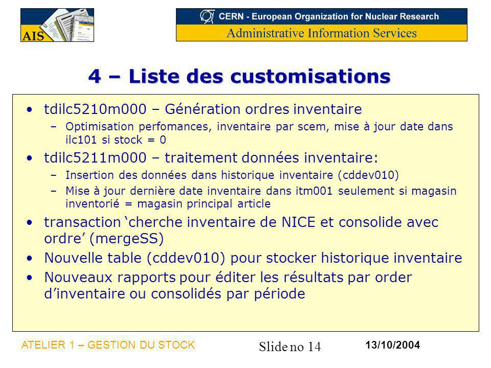 4 – Liste des customisations