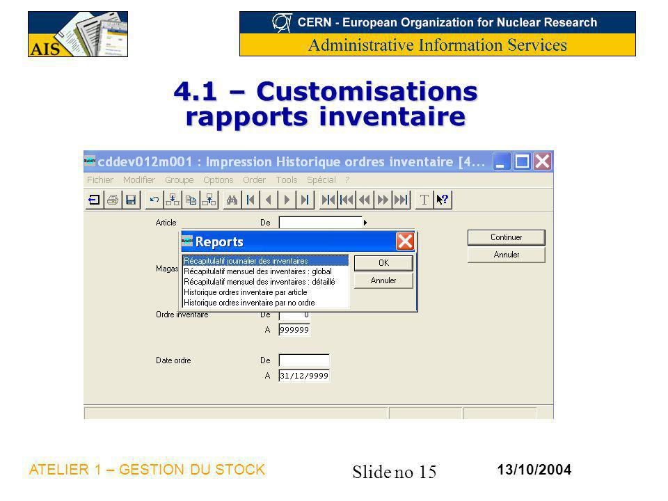 4.1 – Customisations rapports inventaire