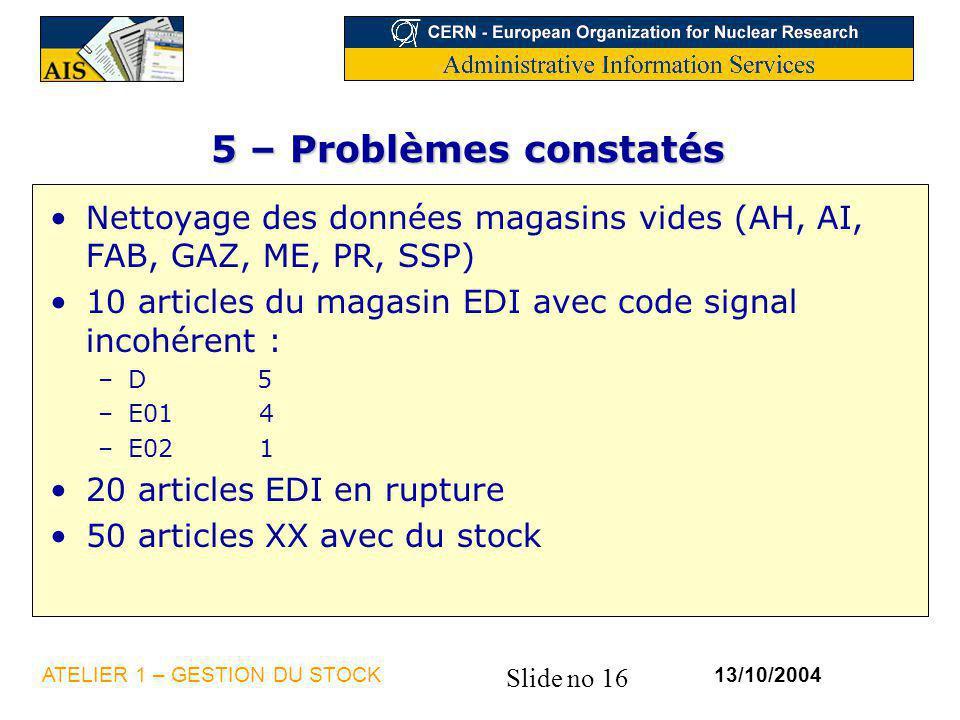 5 – Problèmes constatés Nettoyage des données magasins vides (AH, AI, FAB, GAZ, ME, PR, SSP)