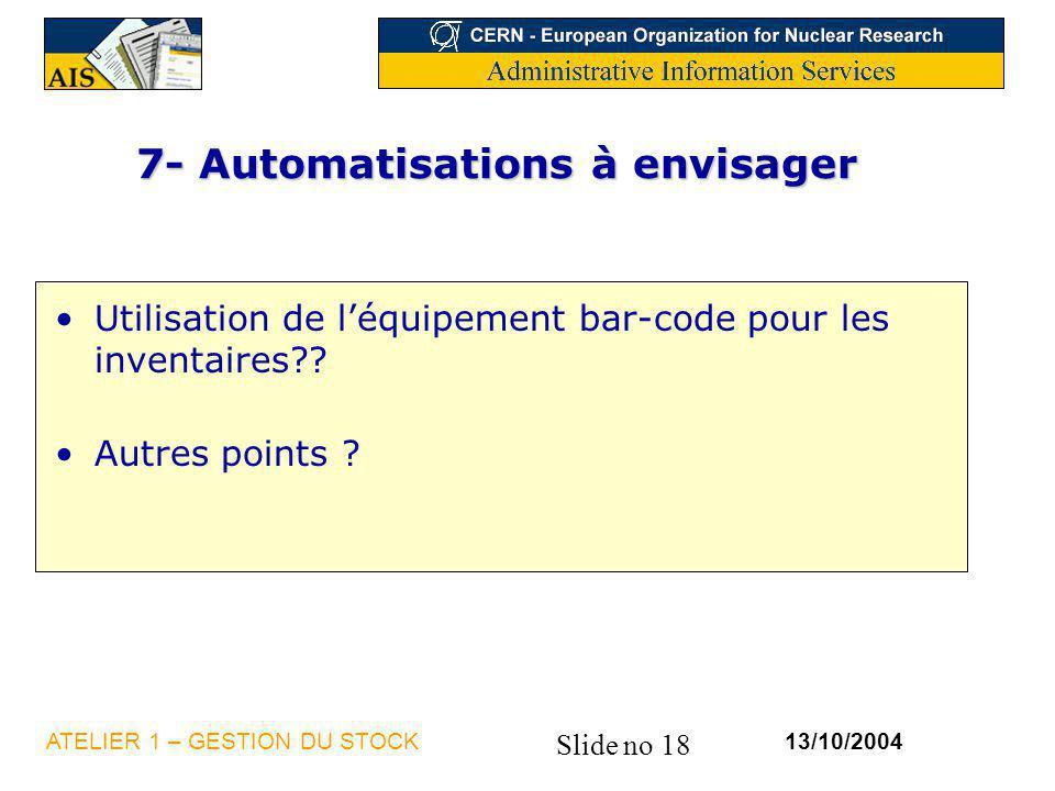 7- Automatisations à envisager