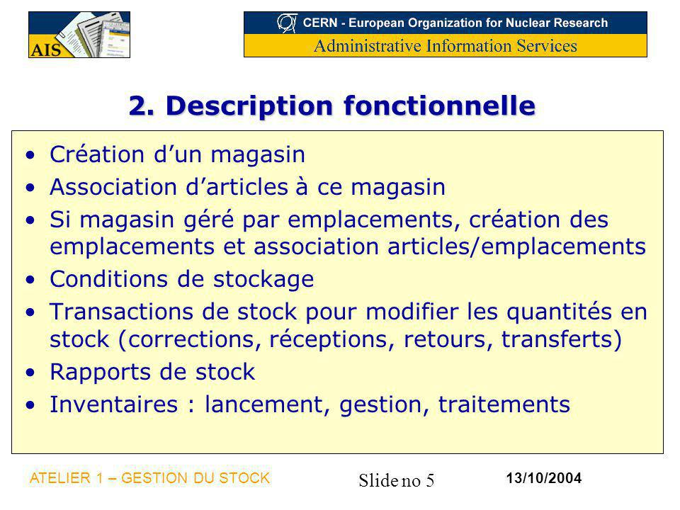 2. Description fonctionnelle