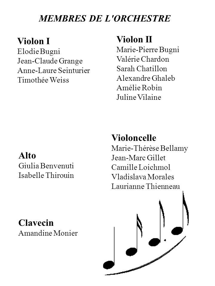 MEMBRES DE L ORCHESTRE Violon II Violon I Violoncelle Alto Clavecin