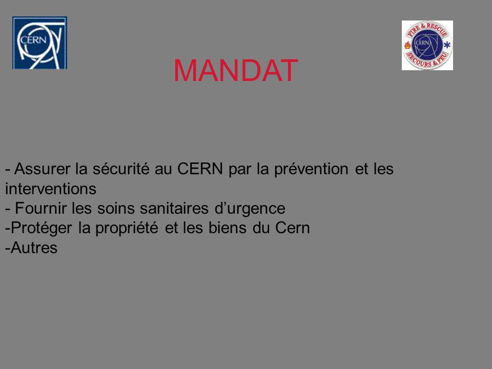 MANDAT - Assurer la sécurité au CERN par la prévention et les interventions. - Fournir les soins sanitaires d'urgence.