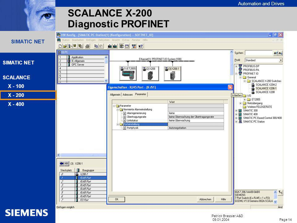SCALANCE X-200 Diagnostic PROFINET