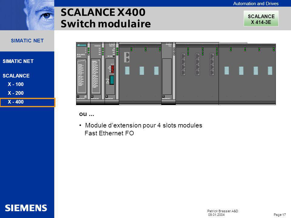 SCALANCE X400 Switch modulaire