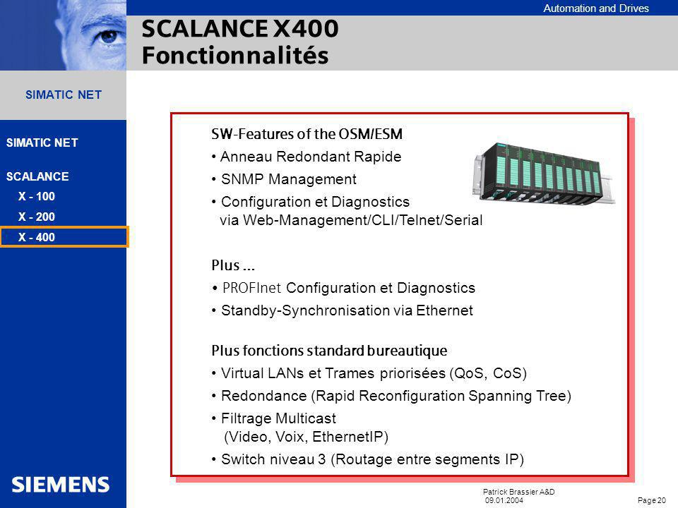 SCALANCE X400 Fonctionnalités