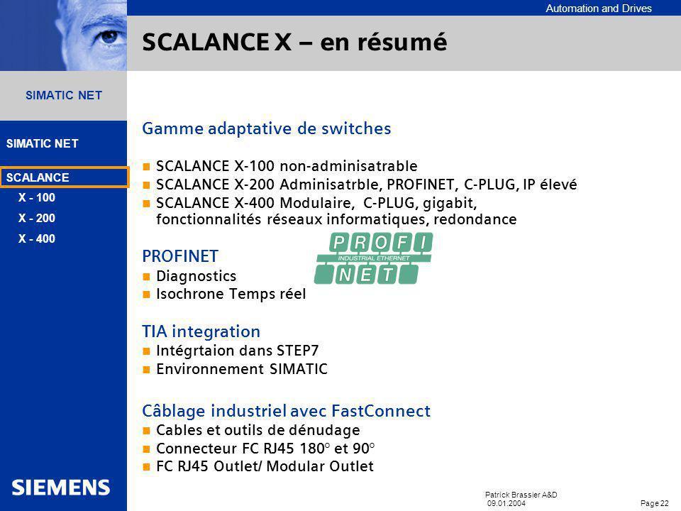 SCALANCE X – en résumé Gamme adaptative de switches PROFINET