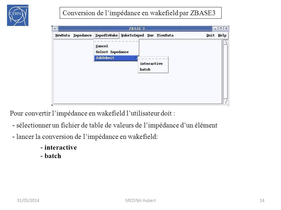 Conversion de l'impédance en wakefield par ZBASE3