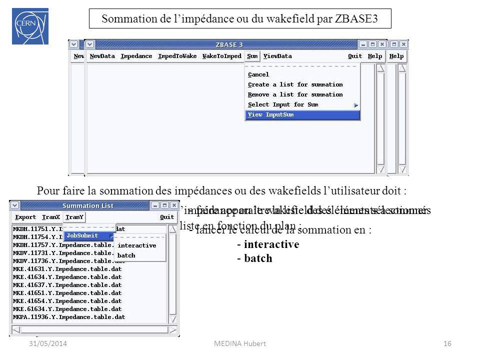 Sommation de l'impédance ou du wakefield par ZBASE3