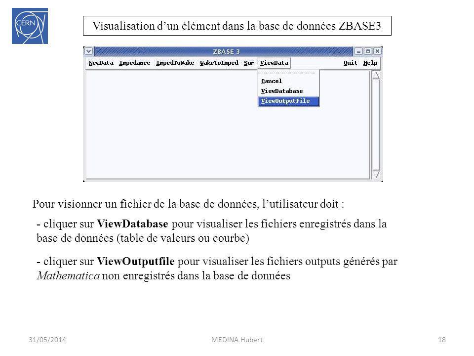Visualisation d'un élément dans la base de données ZBASE3