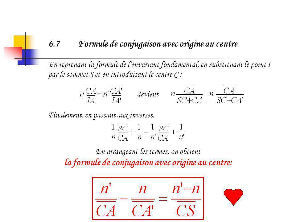 6.7 Formule de conjugaison avec origine au centre