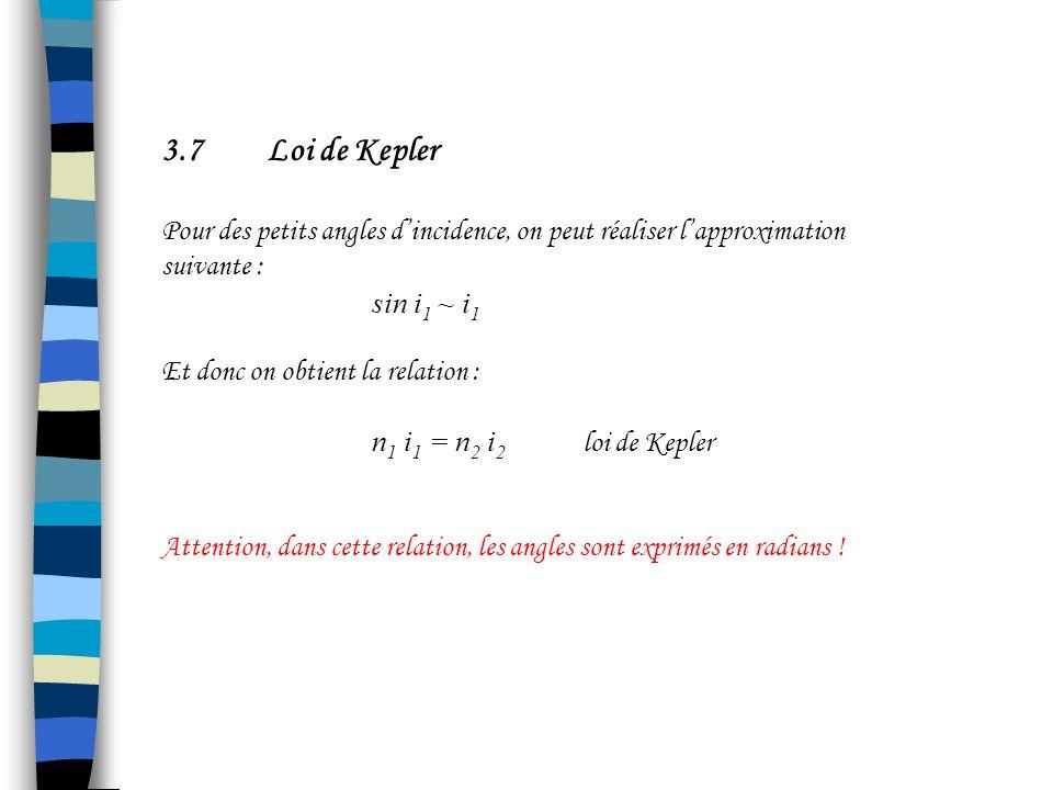 3.7 Loi de Kepler Pour des petits angles d'incidence, on peut réaliser l'approximation suivante :