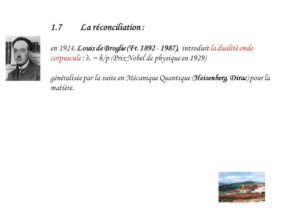 1.7 La réconciliation : en 1924, Louis de Broglie (Fr. 1892 - 1987), introduit la dualité onde-corpuscule : l = h/p (Prix Nobel de physique en 1929)
