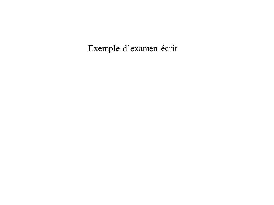 Exemple d'examen écrit