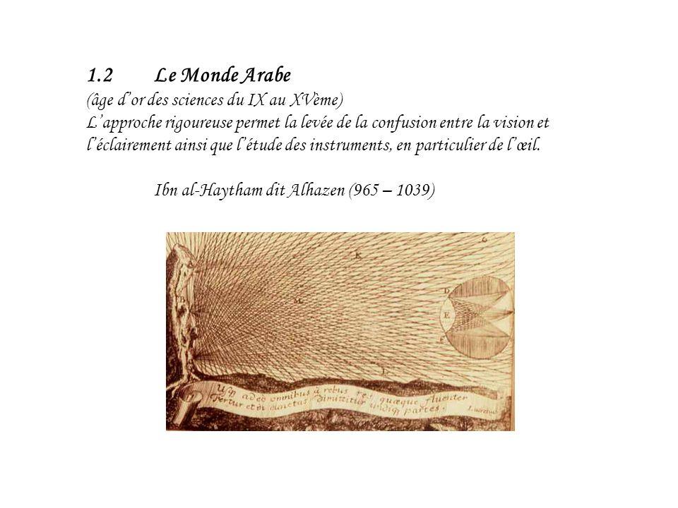 1.2 Le Monde Arabe (âge d'or des sciences du IX au XVème)