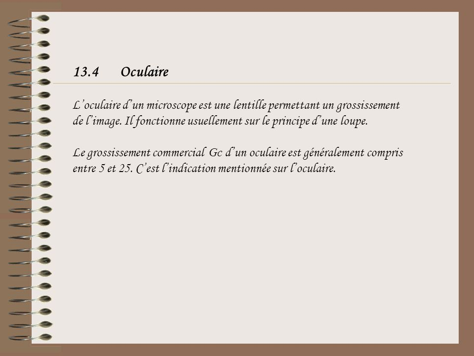 13.4 Oculaire