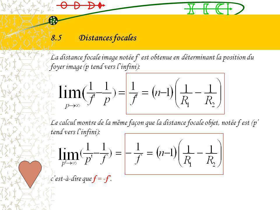 8.5 Distances focales La distance focale image notée f' est obtenue en déterminant la position du foyer image (p tend vers l'infini):