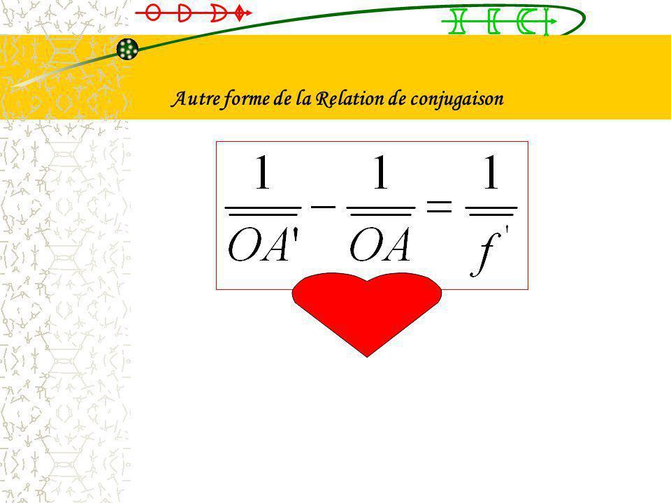 Autre forme de la Relation de conjugaison