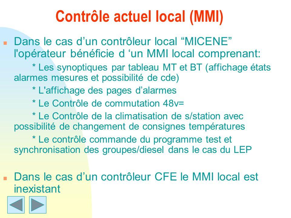 Contrôle actuel local (MMI)
