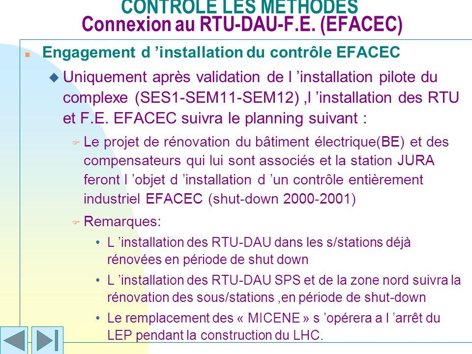 CONTROLE LES METHODES Connexion au RTU-DAU-F.E. (EFACEC)