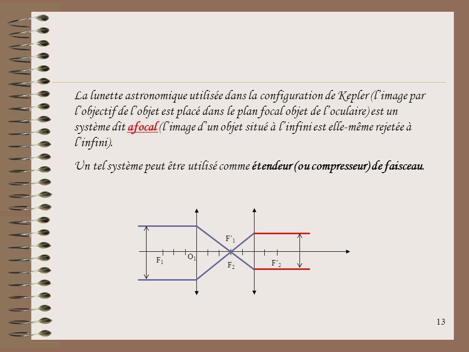La lunette astronomique utilisée dans la configuration de Kepler (l'image par l'objectif de l'objet est placé dans le plan focal objet de l'oculaire) est un système dit afocal (l'image d'un objet situé à l'infini est elle-même rejetée à l'infini).