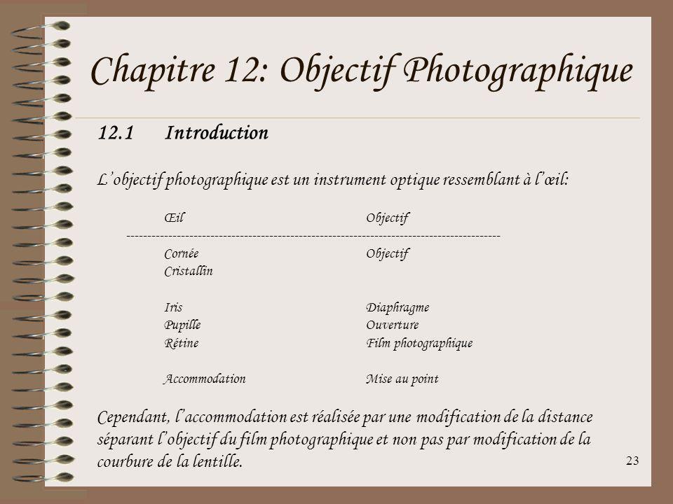 Chapitre 12: Objectif Photographique