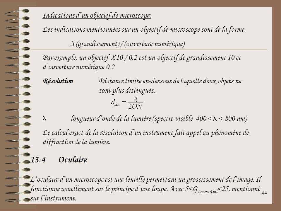 13.4 Oculaire Indications d'un objectif de microscope: