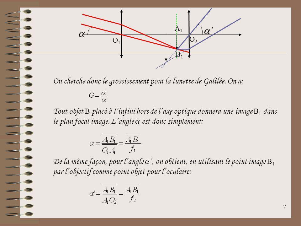 a a' A1. O1. O2. B1. On cherche donc le grossissement pour la lunette de Galilée. On a: