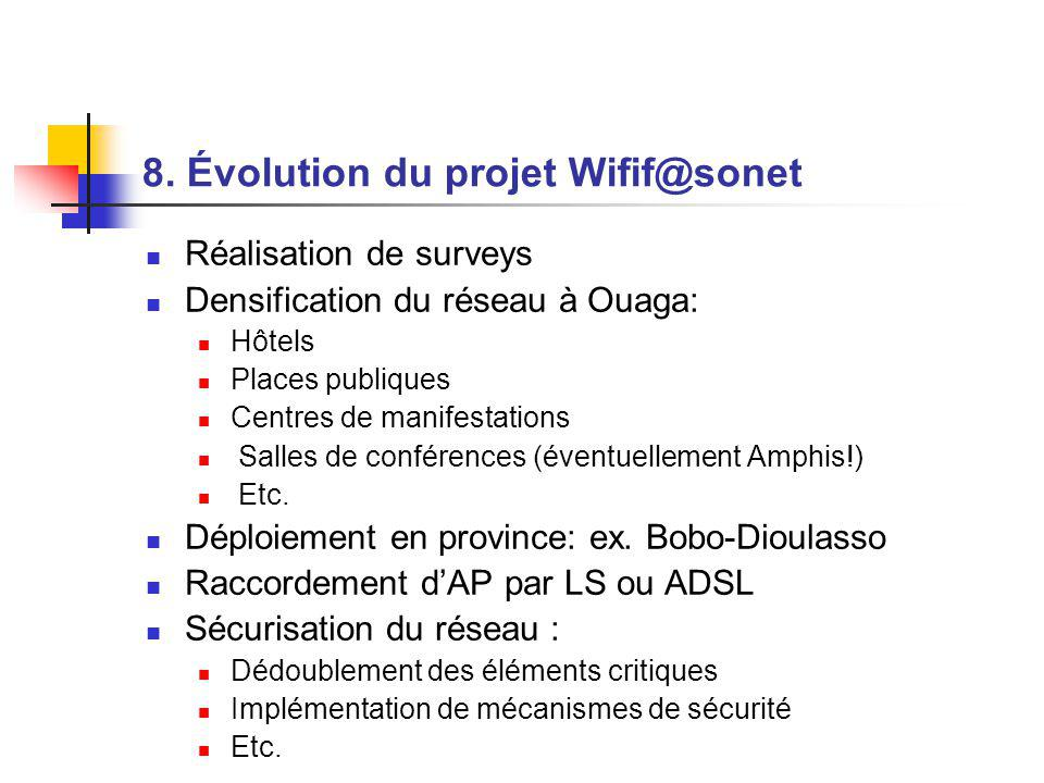 8. Évolution du projet Wifif@sonet