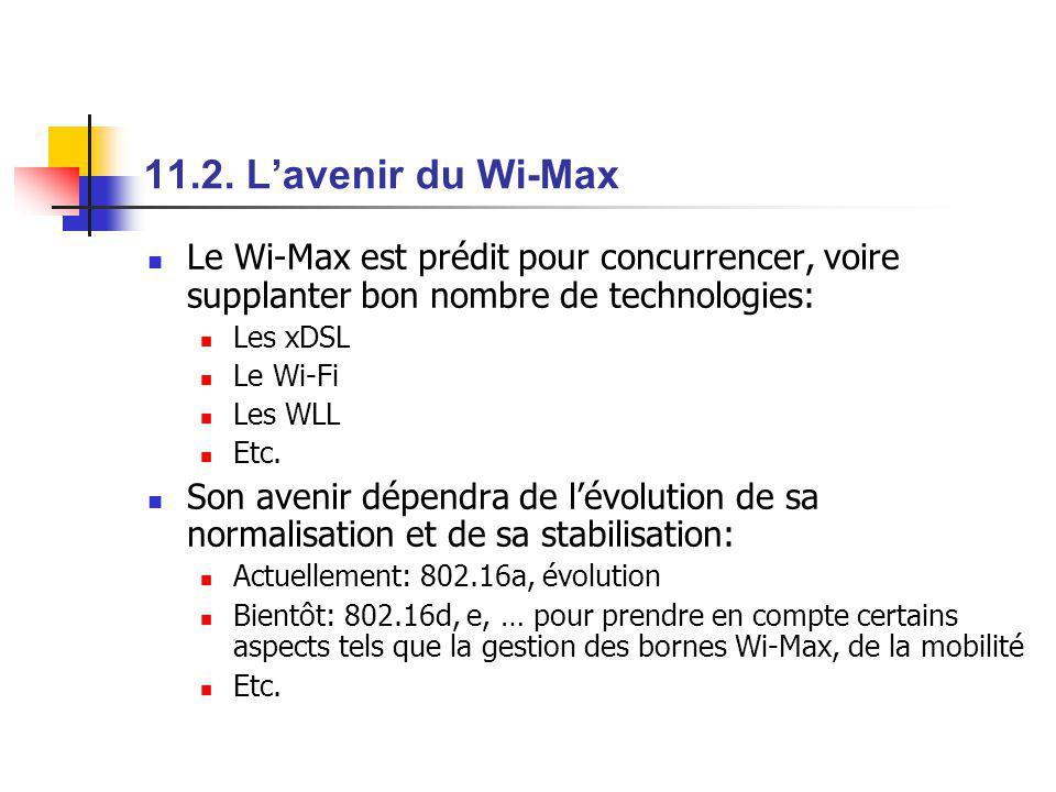 11.2. L'avenir du Wi-Max Le Wi-Max est prédit pour concurrencer, voire supplanter bon nombre de technologies: