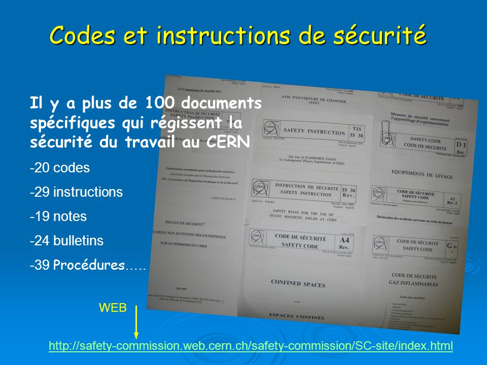 Codes et instructions de sécurité
