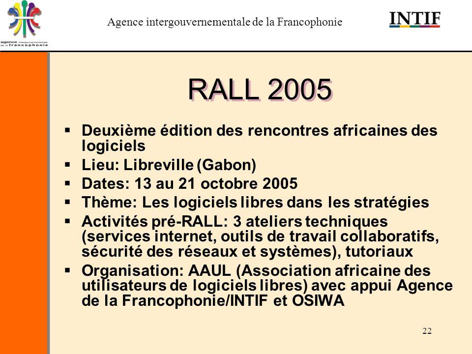 RALL 2005 Deuxième édition des rencontres africaines des logiciels