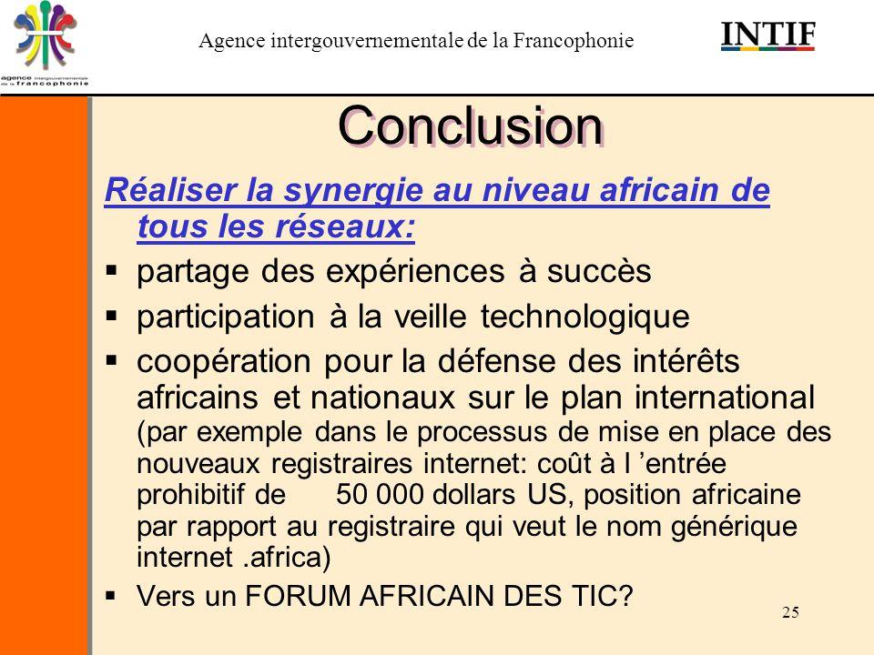 Conclusion Réaliser la synergie au niveau africain de tous les réseaux: partage des expériences à succès.