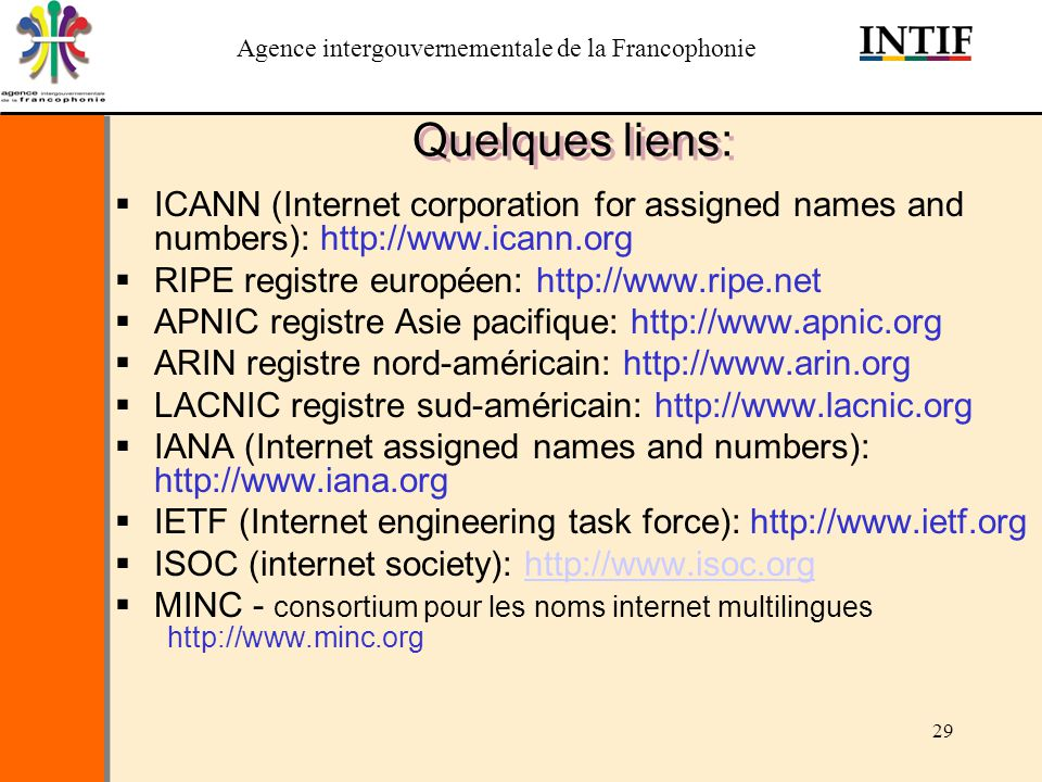 Quelques liens: ICANN (Internet corporation for assigned names and numbers): http://www.icann.org. RIPE registre européen: http://www.ripe.net.