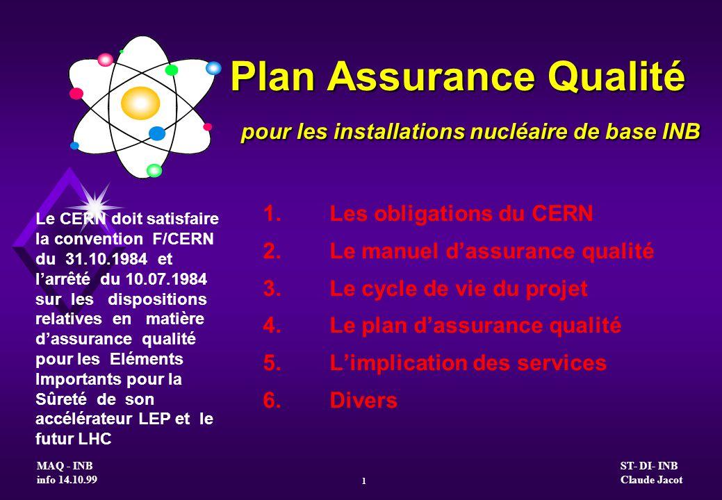 Plan Assurance Qualité pour les installations nucléaire de base INB