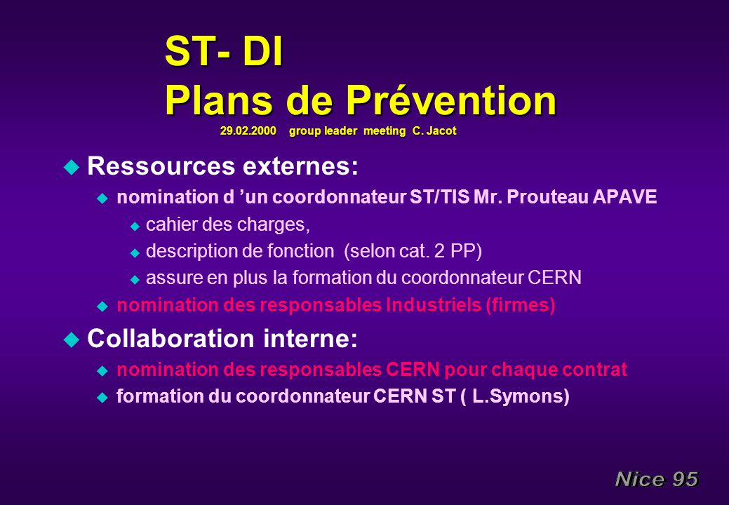 ST- DI Plans de Prévention 29.02.2000 group leader meeting C. Jacot