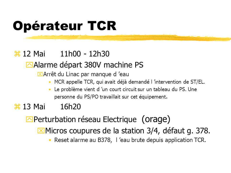 Opérateur TCR 12 Mai 11h00 - 12h30 Alarme départ 380V machine PS