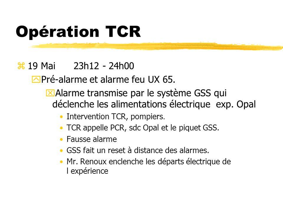 Opération TCR 19 Mai 23h12 - 24h00 Pré-alarme et alarme feu UX 65.