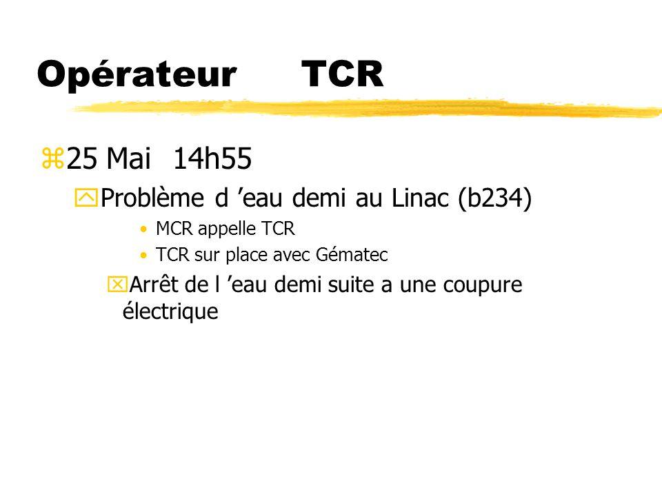 Opérateur TCR 25 Mai 14h55 Problème d 'eau demi au Linac (b234)