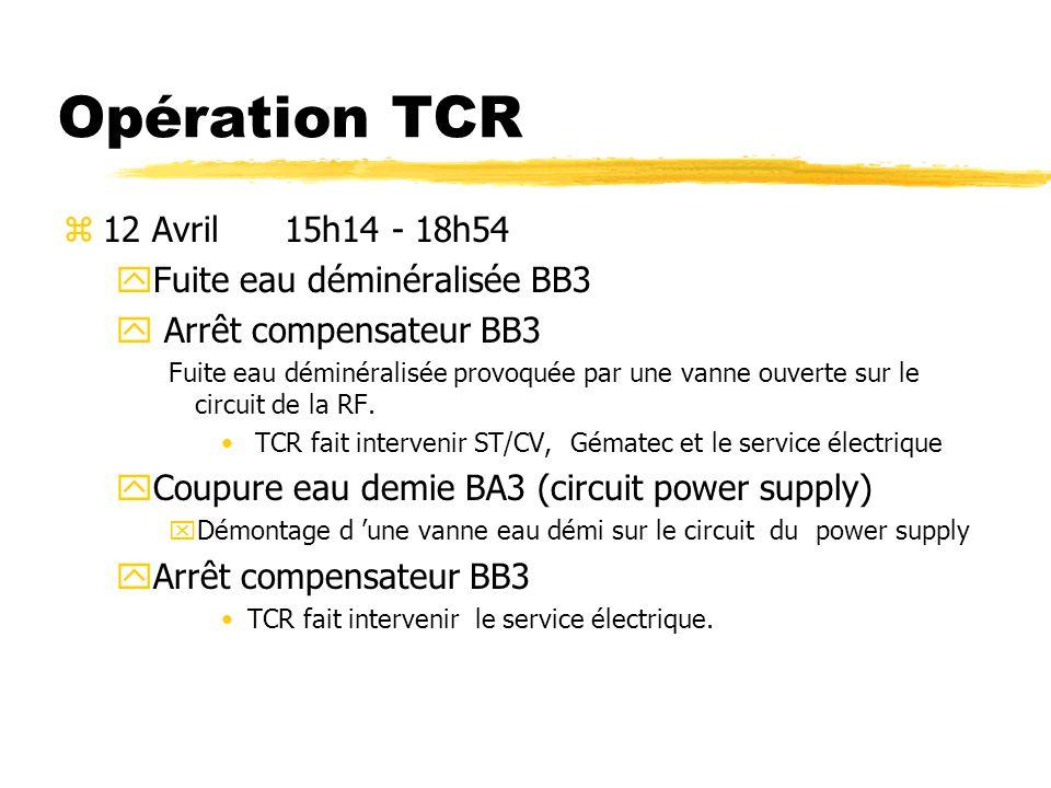 Opération TCR 12 Avril 15h14 - 18h54 Fuite eau déminéralisée BB3