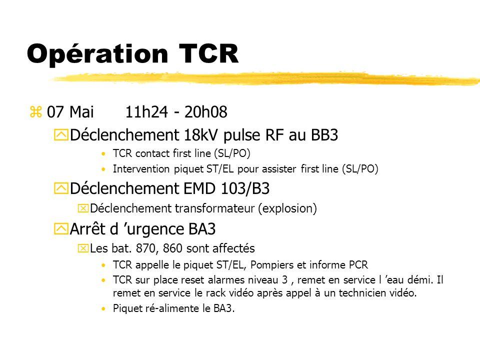 Opération TCR 07 Mai 11h24 - 20h08 Déclenchement 18kV pulse RF au BB3
