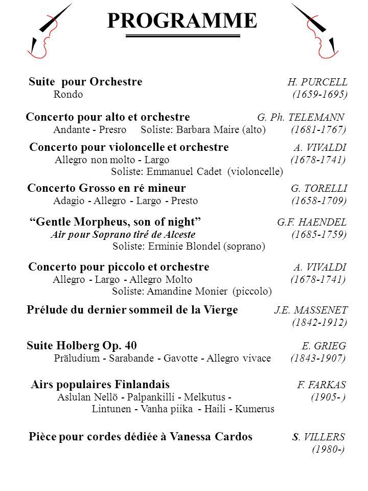 PROGRAMME Suite pour Orchestre H. PURCELL