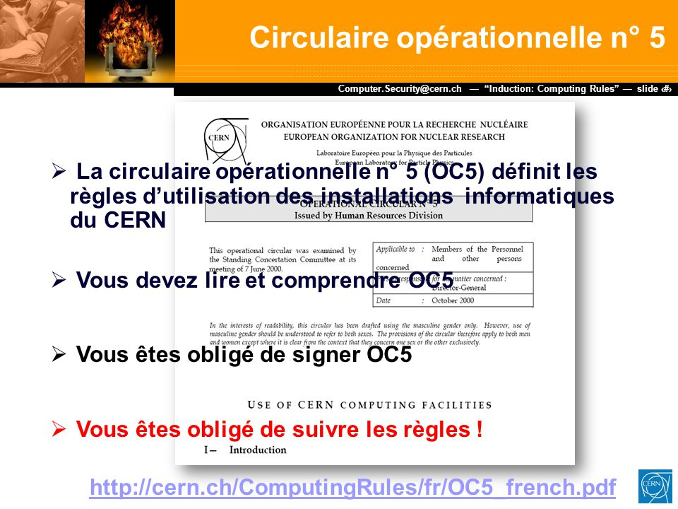 Circulaire opérationnelle n° 5