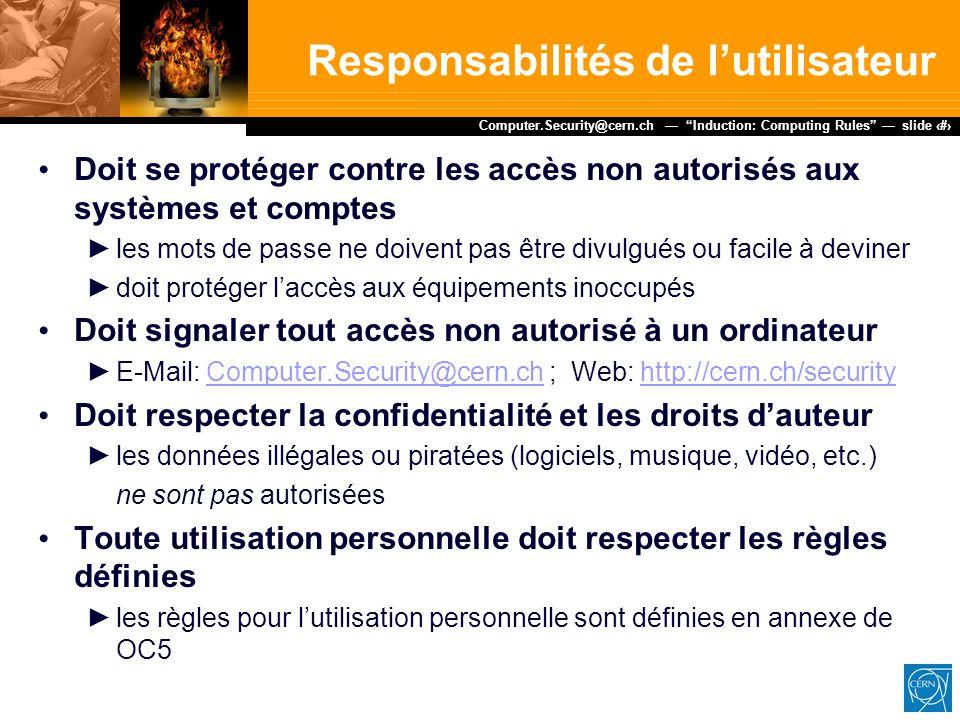 Responsabilités de l'utilisateur